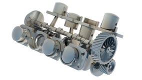 Motore 3D del V8 isolato su bianco Immagini Stock