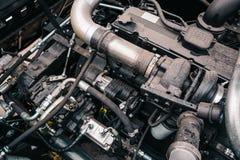 Motore alta tecnologia potente della mietitrice di industriale o del trattore, progettazione moderna, nuovo concetto agricolo di  Fotografie Stock