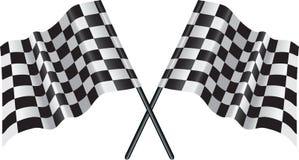 Motore che corre bandierina checkered e striata Fotografie Stock