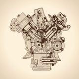 Motore d'annata, vecchia immagine Vettore Immagini Stock