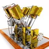 Motore del crogiolo di vapore ad otto cilindri Fotografie Stock Libere da Diritti