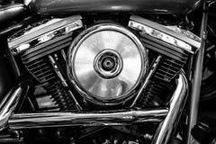 Motore del motociclo Harley-Davidson, primo piano Fotografia Stock