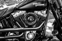Motore del motociclo Harley-Davidson, primo piano Immagine Stock