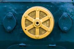 Motore del treno sulla finestra Fotografia Stock