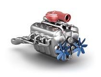 Motore del V8 con il turbocharger sopra bianco Fotografia Stock Libera da Diritti