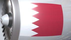 Motore dell'aeroplano con la bandiera del Bahrain Animazione concettuale del Bahrein 3D del trasporto di aria stock footage