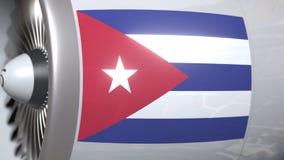 Motore dell'aeroplano con la bandiera di Cuba Rappresentazione concettuale cubana 3D del trasporto di aria royalty illustrazione gratis