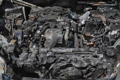 Motore di automobile automobilistico e bruciato Fotografia Stock Libera da Diritti