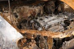 Motore di automobile bruciato Fotografie Stock
