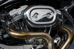 Motore di un motocycle Harley-Davidson Custom Bike Fotografia Stock