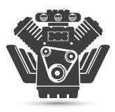 Motore potente dell'automobile, simbolo nero illustrazione di stock