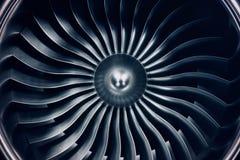 motore a propulsione della rappresentazione 3D, lame del motore a propulsione di vista del primo piano Tinta blu Immagini Stock Libere da Diritti