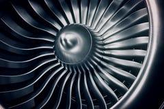 motore a propulsione della rappresentazione 3D, lame del motore a propulsione di vista del primo piano Tinta blu Fotografia Stock