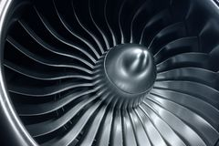 motore a propulsione della rappresentazione 3D, lame del motore a propulsione di vista del primo piano Tinta blu Fotografie Stock