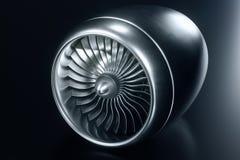 motore a propulsione della rappresentazione 3D, lame del motore a propulsione di vista del primo piano Tinta blu Immagine Stock