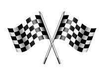 Motore a quadretti e striato delle bandiere che corrono, sport, inizio o rivestimento illustrazione vettoriale
