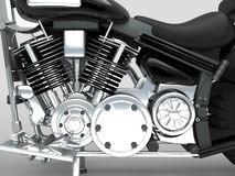 Motore su ordinazione del primo piano del motociclo Fotografia Stock Libera da Diritti