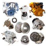 Motoren und wenige Automobilteile Lokalisiert über Weiß stockbilder