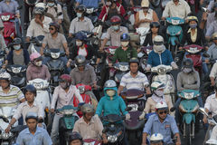 Motorencongestie in Ho Chi Minh Stock Afbeeldingen