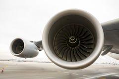 Motores de jato das turbinas de Airbus A380 Fotos de Stock