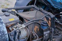 Motores diesel, recambios dentro de los camiones y equipo especial del cierre de Japón para arriba imagen de archivo libre de regalías