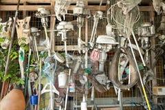 Motores do barco e acessórios da pesca imagens de stock