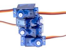 Motores servos azules Foto de archivo libre de regalías
