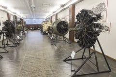 Motores viejos del aeroplano en Nikola Tesla Technical Museum en Zagreb, Croacia fotos de archivo