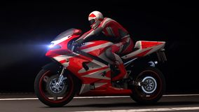 Motorfiets bij nacht Stock Afbeelding