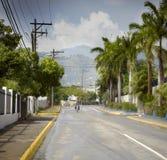 Motorfiets die zich op de weg, Jamaïca bewegen Royalty-vrije Stock Afbeelding