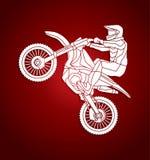 Motorfiets het dwars grafisch springen Royalty-vrije Stock Fotografie