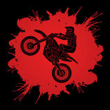Motorfiets het dwars grafisch springen Stock Foto