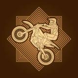Motorfiets het dwars grafisch springen Stock Fotografie