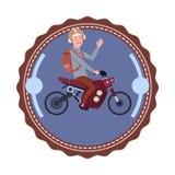 Motorfiets Uitstekend Logo Design Icon Isolated van de personenvervoer de Moderne Berg Stock Afbeelding