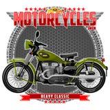 Motorfiets van een bepaald type, op een symbolische achtergrond vector illustratie