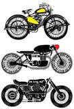 Motorfiets Vastgesteld Uitstekend Grafisch Ontwerp Stock Foto's