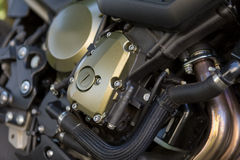 Motorfietsbenzine van brandstof voorzien motor Stock Foto