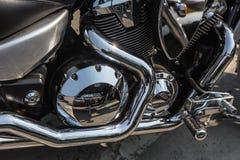 Motorfietsbenzine van brandstof voorzien motor close-up Stock Foto
