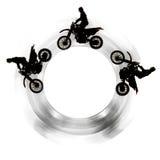 Motorfietsen in cirkel Stock Afbeeldingen