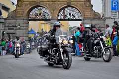 Motorfietsen het samenkomen en massarit Royalty-vrije Stock Fotografie