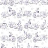 Motorfietskrabbel in patroon royalty-vrije illustratie
