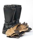 Motorfietslaarzen en Handschoenen Royalty-vrije Stock Afbeeldingen