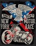 Motorfietstypografie; uitstekende motor; t-shirtgrafiek; vectoren royalty-vrije illustratie