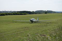 Motorglider just landed on grass Stock Images