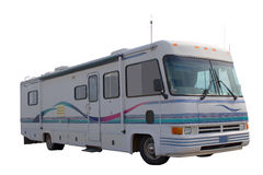 Motorhome. A classic older motorhome on a white isolated background royalty free stock image