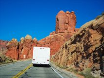 Motorhome at arches national park Royalty Free Stock Image