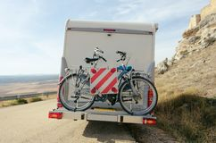 Motorhome bikes stock images