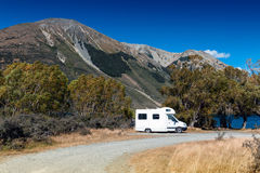 Motorhome camper at Lake Pearson / Moana Rua Wildlife Refuge, New Zealand Royalty Free Stock Photography