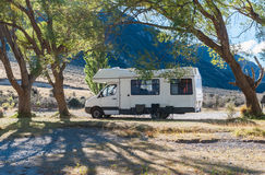 Motorhome camper at Lake Pearson / Moana Rua Wildlife Refuge, New Zealand Royalty Free Stock Photos