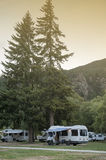 Motorhome campers at Lake Hawea Holiday Park, south island of New Zealand Royalty Free Stock Photos